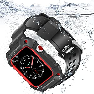 Compatible with Apple Watch Band 42mm, iiteeology Breathable Shockproof Sports Frame Case with Black Band Straps for Apple Watch Series 3 Series 2 - Black/Red
