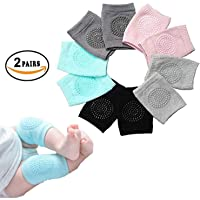 SHOPPOSTREET Baby Knee Pads for Crawling, Anti-Slip Padded Stretchable Elastic Cotton Soft Breathable Comfortable Knee Cap Elbow Safety Protector (Set of 2 Pairs)(Multi Color)