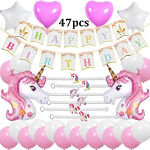 Cebelle Unicorn Birthday Party Decorations Supplies Favors Pink, 47pcs Party Pack, Happy Birthday Banner