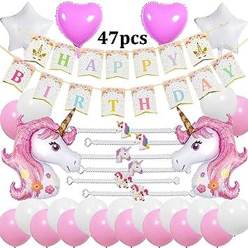 Cebelle Unicornio Fiesta cumpleaños Decoraciones Suministros, Happy Birthday Bandera, 2 enormes Unicornio, 6 Pulseras, 2 Globos corazón y 2 Estrellas, ...