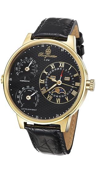 Burgmeister Montana BM309-222 - Reloj de Caballero automático, Correa de Piel Color Negro: Burgmeister: Amazon.es: Relojes