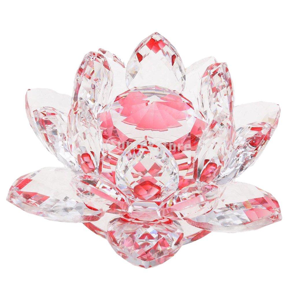 Sharplace Cristal Lotus Fleur Artisanat Presse-Papier en Verre Modèle Maison Bureau Décor - Rose