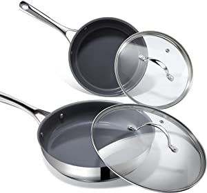 Frying Pan with Lid, REDOMOND Non-stick Frying Skillet 2 Sets, 8 inch and 10 inch Stainless Steel Cookware with Cover, Compatible with Induction Cooker and Gas Stove, Oven and Dishwasher Safe