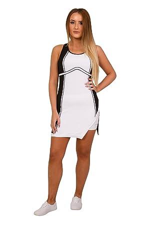 Bace Vestido de Tenis Blanco y Negro para niñas, Vestido de Tenis Juvenil, Traje