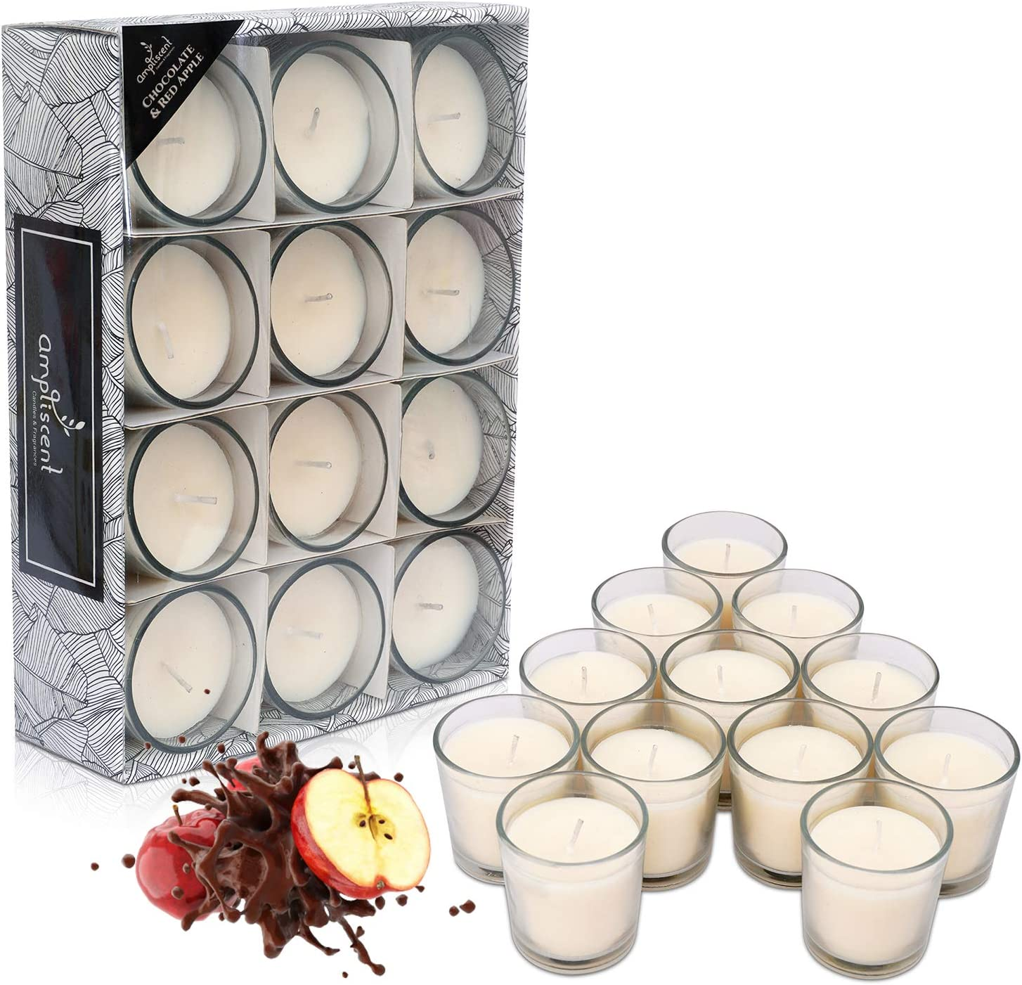 Ampliscent White Scented Glass Votive Candle - Set of 12 | Bulk Pack for Weddings, Bridal Showers or Home Parties and Centerpieces - Chocolate Red Apple