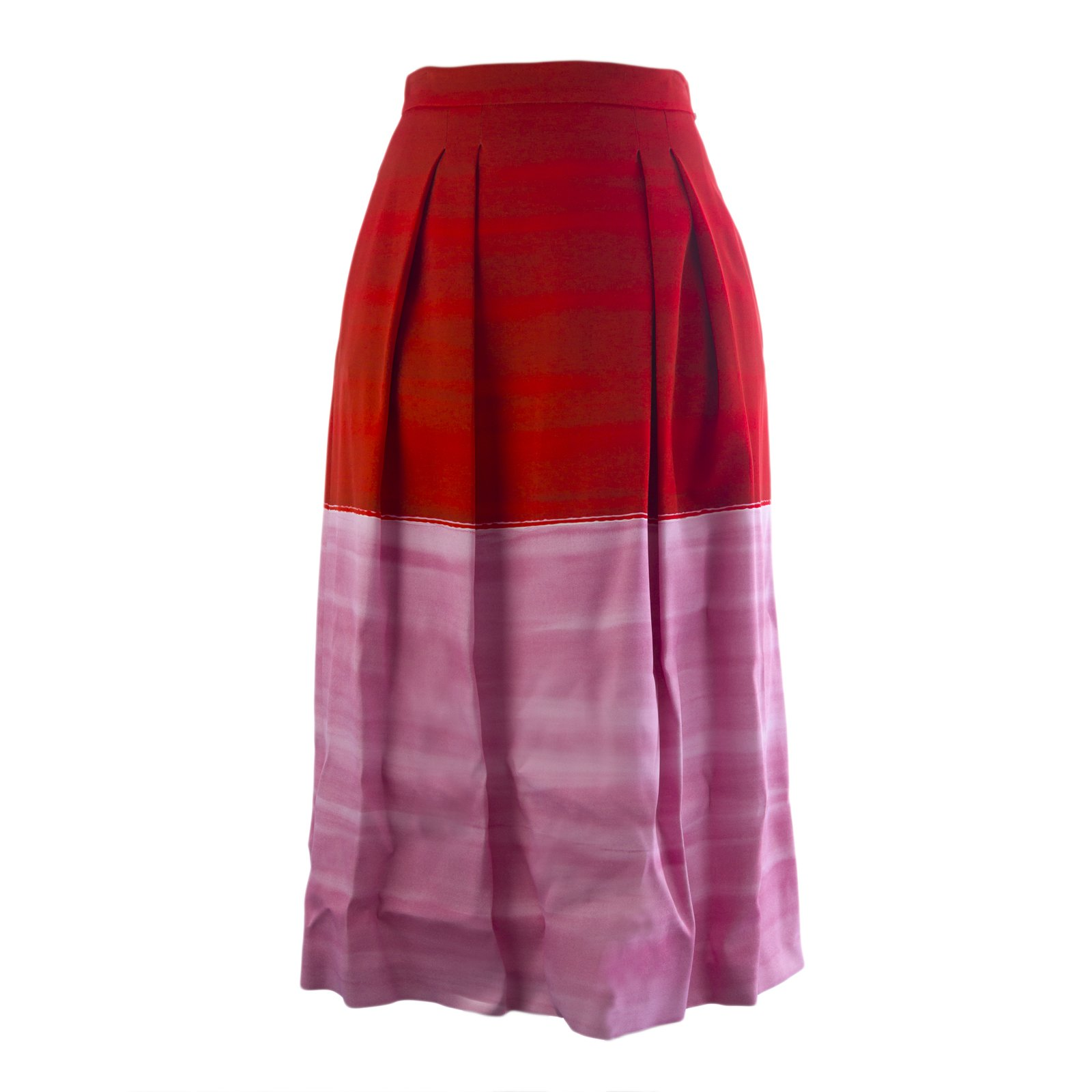 Max Mara Sportmax Women's Vibo Pleated Colorblock Half Skirt Sz 8 Red