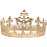 S SNUOY Gold Prom King Crown Full Round Cake Topper Men Party Hats