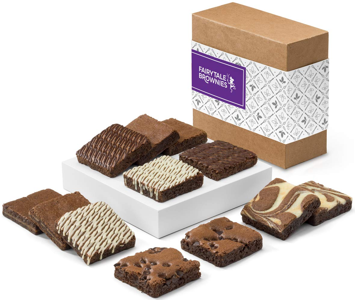 Fairytale Brownies Nut-Free Brownie Dozen Gourmet Chocolate Food Gift Basket - 3 Inch Square Full-Size Brownies - 12 Pieces - Item CF122