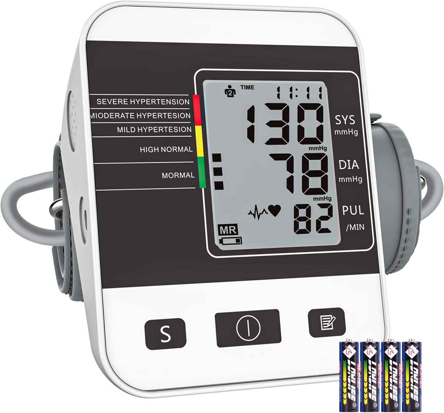 Blood Pressure Machine 【2020 Update】, Upper Arm Blood Pressure Monitor for Home Use, Automatic Measure BP and Calculate Average, Heart Rate Pulse, 2 User Mode and 198 Memories, Include Batteries