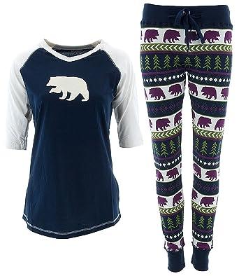 Amazon.com: Lazy One Women's Blue Fair Isle Bears Pajama Set L ...