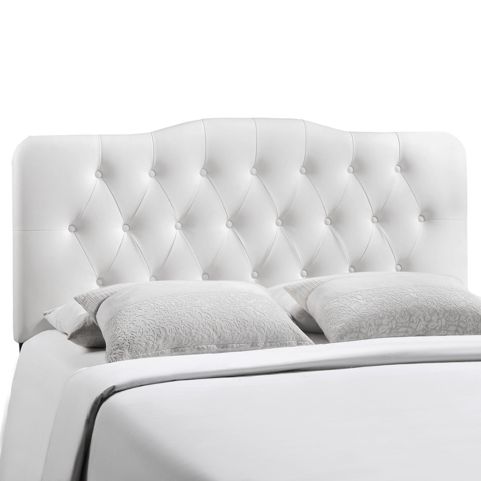 Modway Annabel Tufted Button Faux Leather Upholstered Full Headboard in White by Modway