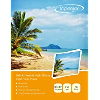 Topcolor High Glossy Sticker Photo Paper, Self-Adhesive Photo Paper 8.5 x 11 Inches for Inkjet Printer, 50 Sheets, 135 GSM