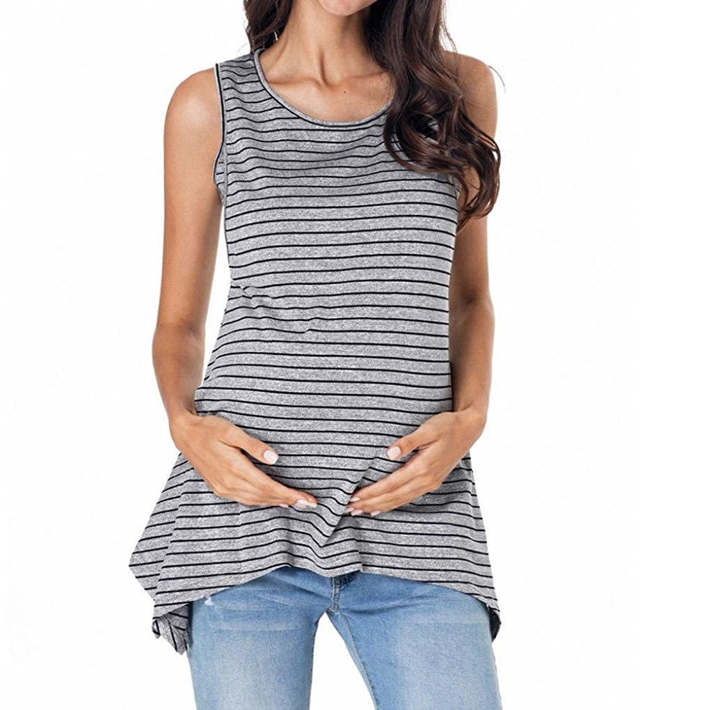 ASTV Women Maternity Clothes Nursing Tops Stripe Breastfeeding Vest