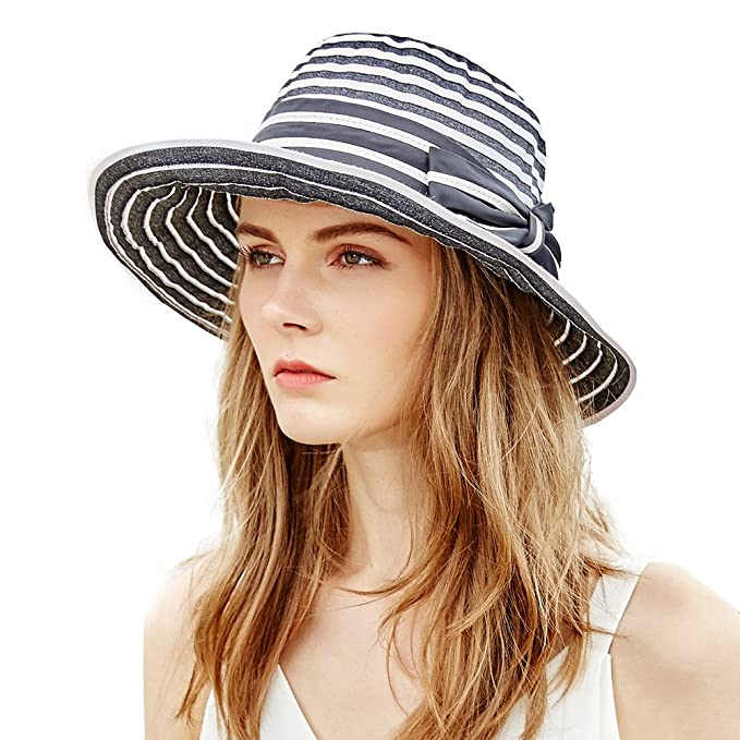 Siggi Womens UPF50+ Summer Sunhat Bucket Packable Crushable Foldable Wide  Brim Hats w Chin Cord 1cce28290c56