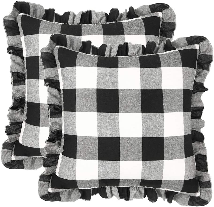 cygnus Set of 2 Retro Farmhouse Buffalo Plaid Check Pillow Cases with Ruffles Decorative Throw Pillow Covers Cushion Case for Fall Home Decor Sofa Couch Black and White,18x18 Inch