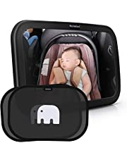 Meinkind Baby Car Mirror, Baby Seat Car Mirror Baby Rear View Car Mirror with Car Sun Shades for Kids, 100% Shatterproof Large Wide Convex Rearview Baby in Car Mirror, Black