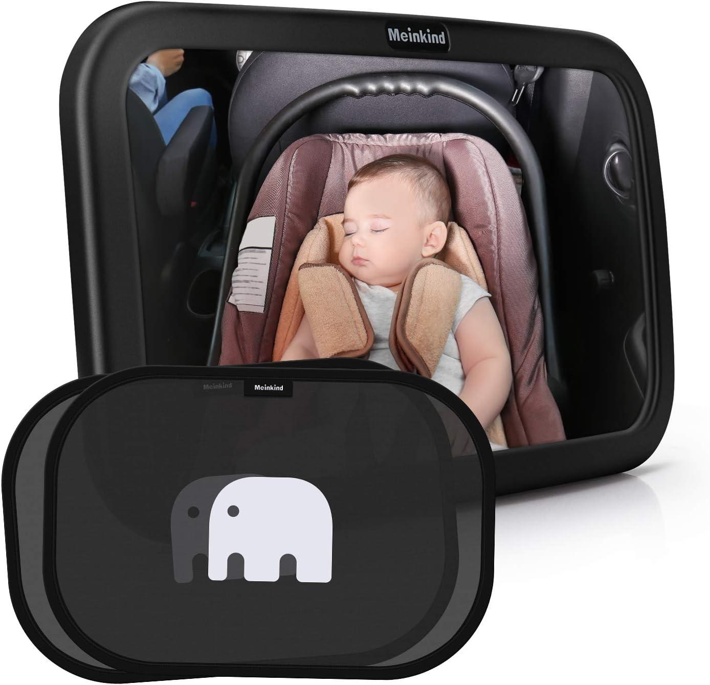 Meinkind Espejo Retrovisor Bebé para Vigilar al Bebé en Coche, 360° Ajustable Irrompible 100% Inastillable Espejo Coche