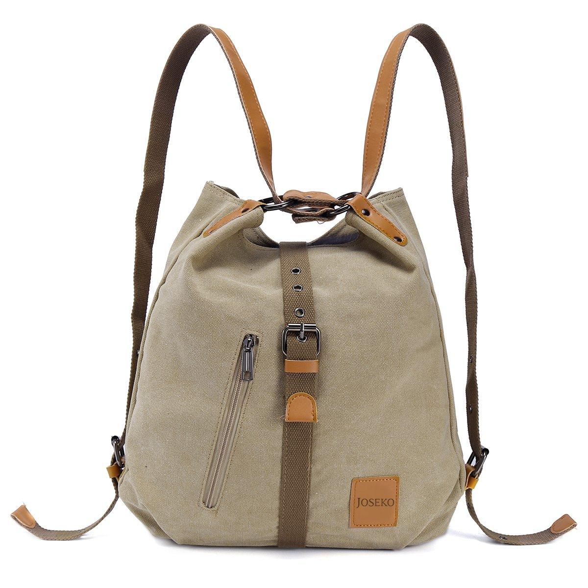JOSEKO Fashion Shoulder Bag Rucksack, Canvas Multifunctional Casual Handbag Travel Backpack for Women Girls Ladies, Large Capacity Khaki 14.17 inch(L) x 3.94 inch(W) x 14.96 inch(H)
