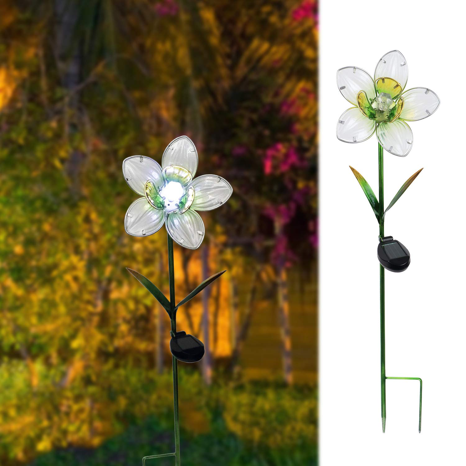 MUMTOP Solar Garden Lights Flower Metal Stakes Outdoor Solar Lights for Lawn Yard Patio Decor (White) by MUMTOP