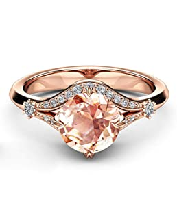 KJweitian Practical Classic Wedding Rings Rose Gold Color Round Sparkling AAA CZ Rings Jewelry in fine Style(None 7 KYRA0247, Code 7.)