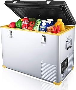 Setpower RV45 47 Quarts Portable Freezer Chest Fridge 12V Cooler, 0℉-50℉, DC 12/24V, AC 110-240V, Car Fridge Compact Refrigerator, for Truck, Van, RV Road Trip, Outdoor, Camping, Picnic, BBQ, Patio
