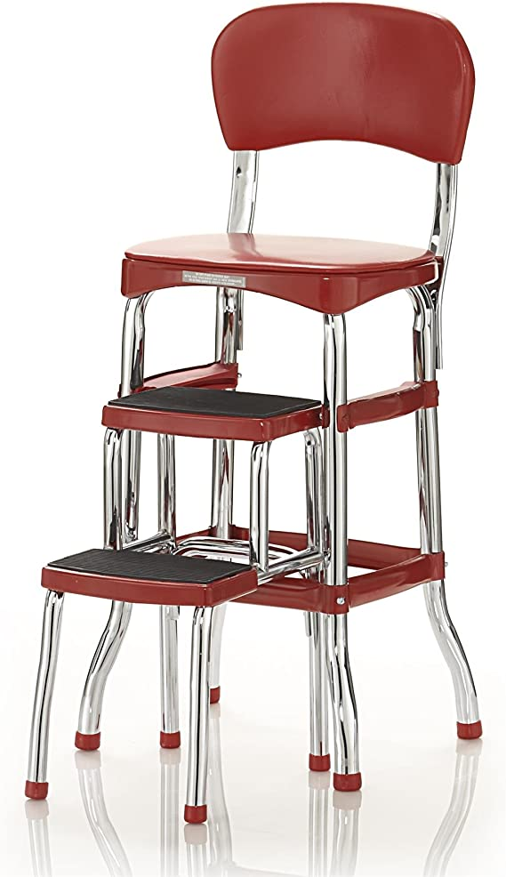 Amazon Com Cosco Retro Counter Chair Step Stool Sliding Red Home Improvement
