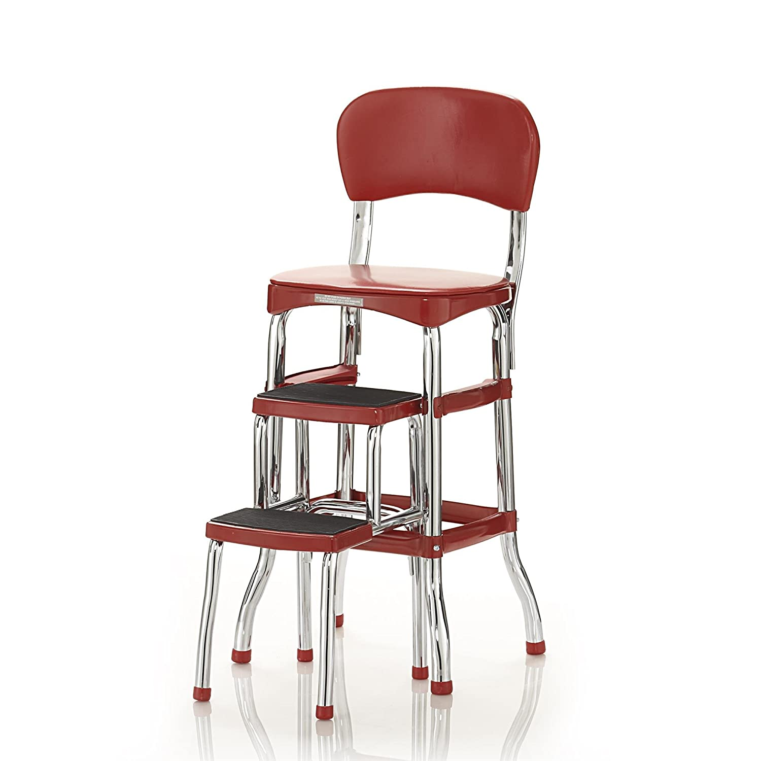 Amazon Cosco Retro Counter Chair Step Stool Red Home