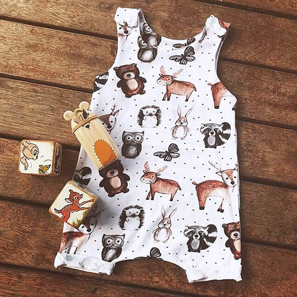 3-24 Months Sayolala Baby Boys Girls Romper Bodysuits Infant Sleeveless Cartoon Bear Cow Print Jumpsuit Summer Clothes
