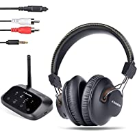2019 New Avantree HT5009 Long Range Wireless Headphones for TV Watching, w/Bluetooth Transmitter, Support Wired Home Stereo Simultaneously, Plug & Play, No Audio Delay, Headset w/ 40h Audio Time