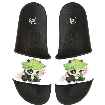 COWDIY Funny Panda Mens Boys Stripe Flat Bathroom Shower Beach Non-slip Flip Flops Sandals Slipper