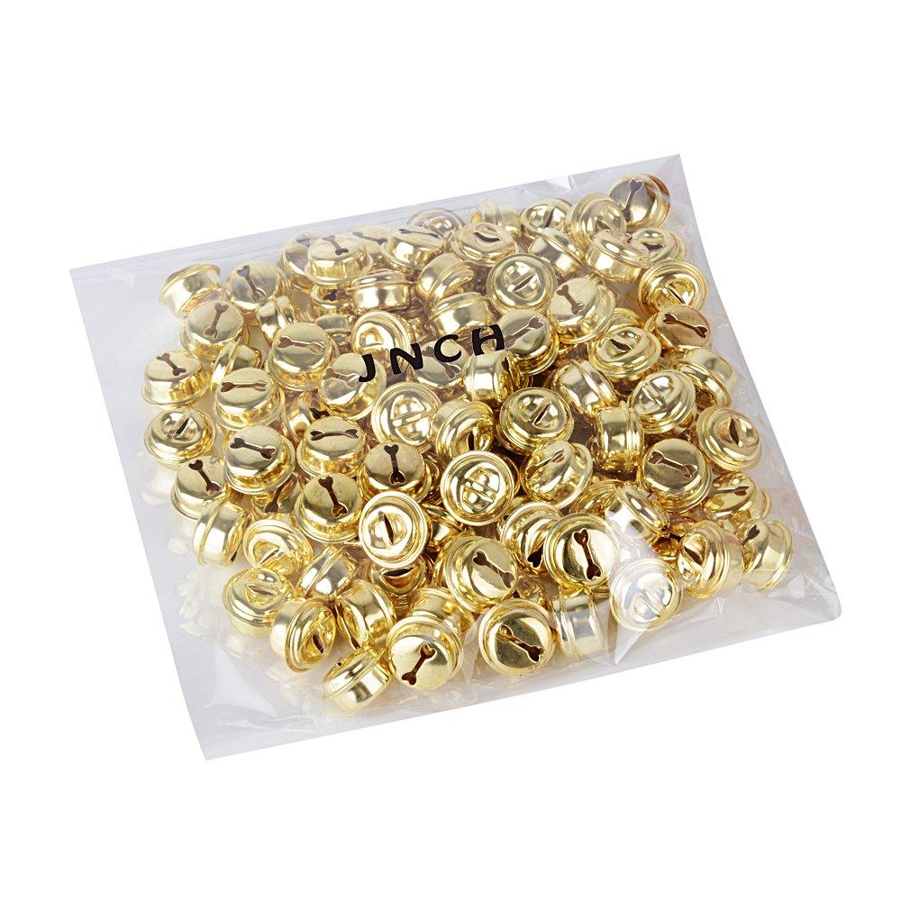 100pcs 18mm Petites Clochettes Grelots Dor/és en M/étal Tintements du Carillon Accessoire pour Fabrication de Bijoux Pendentif D/écoration No/ël Artisanat DIY