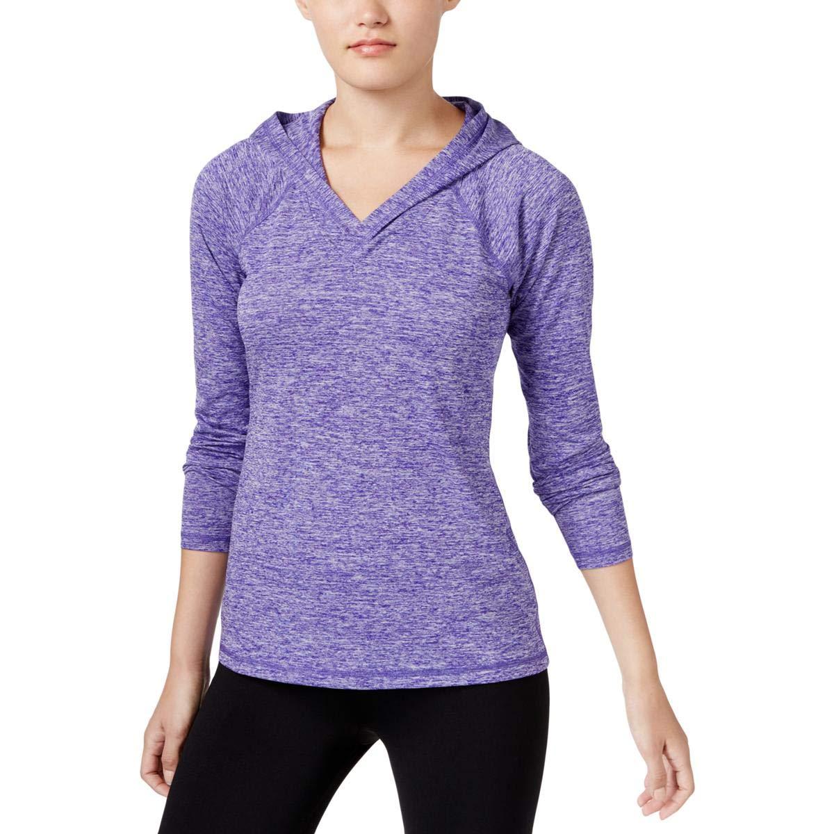 Ideology Women's Heathered Hooded Top Blazing Purple Small