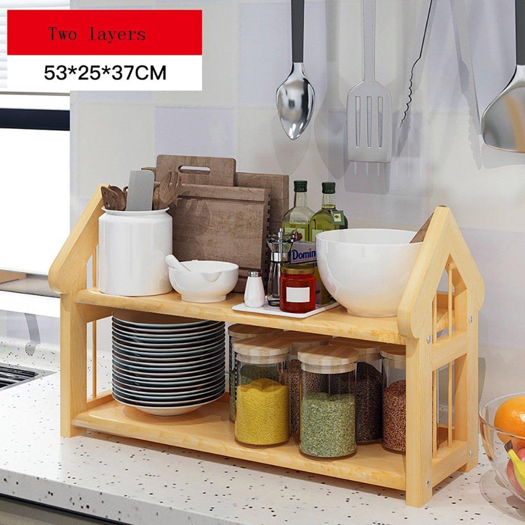 SHtlj Especieros Estantería de Cocina Madera Sazonadores Suministros de Cocina  Estantes Piso Multifunción Cocina Acabado Rack (Tamaño   53   25   37CM)   ... b4e064726037