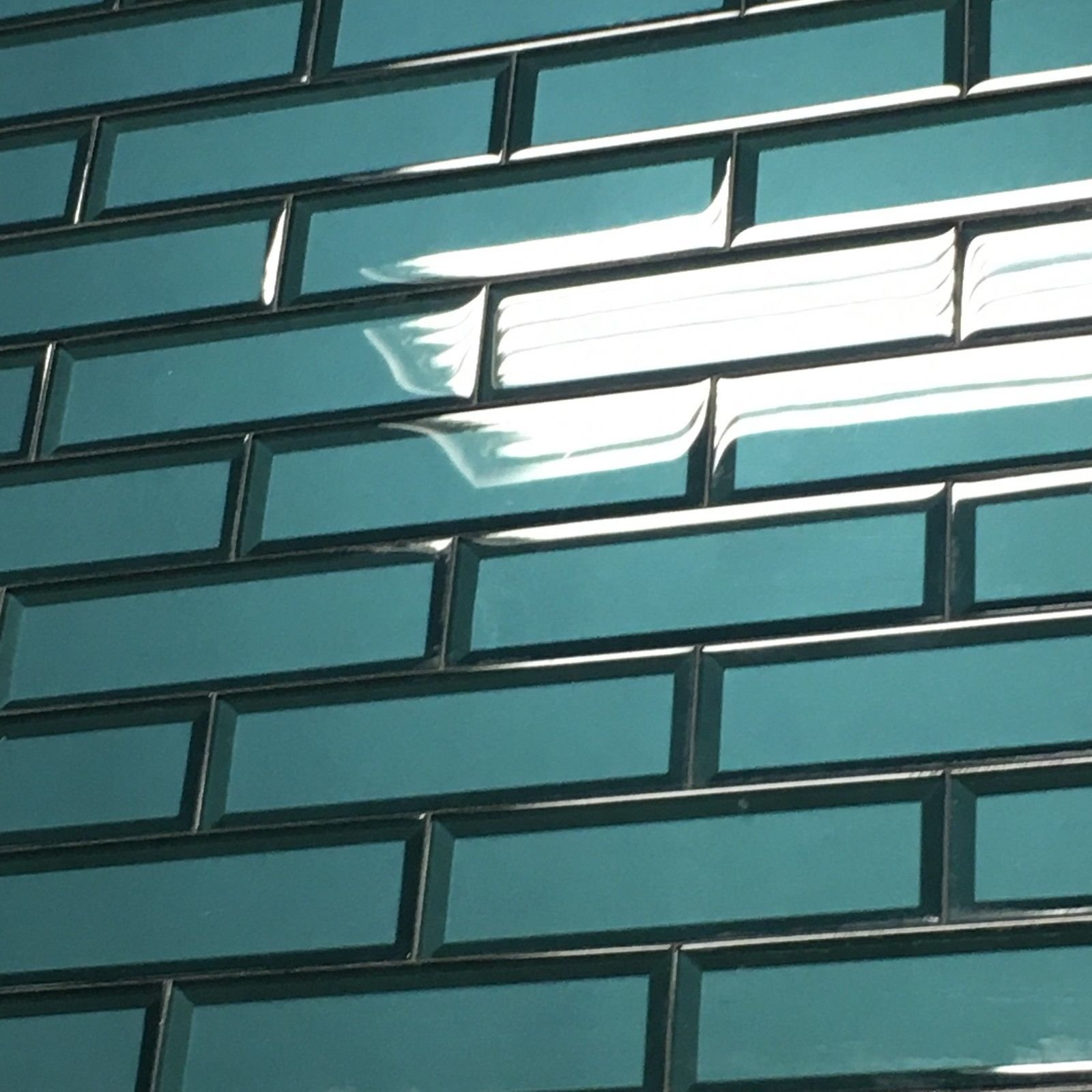 2.5 x 8 Temptation Teal Glass Tile 3D Backsplash Wall Bath (5 piece PACK)