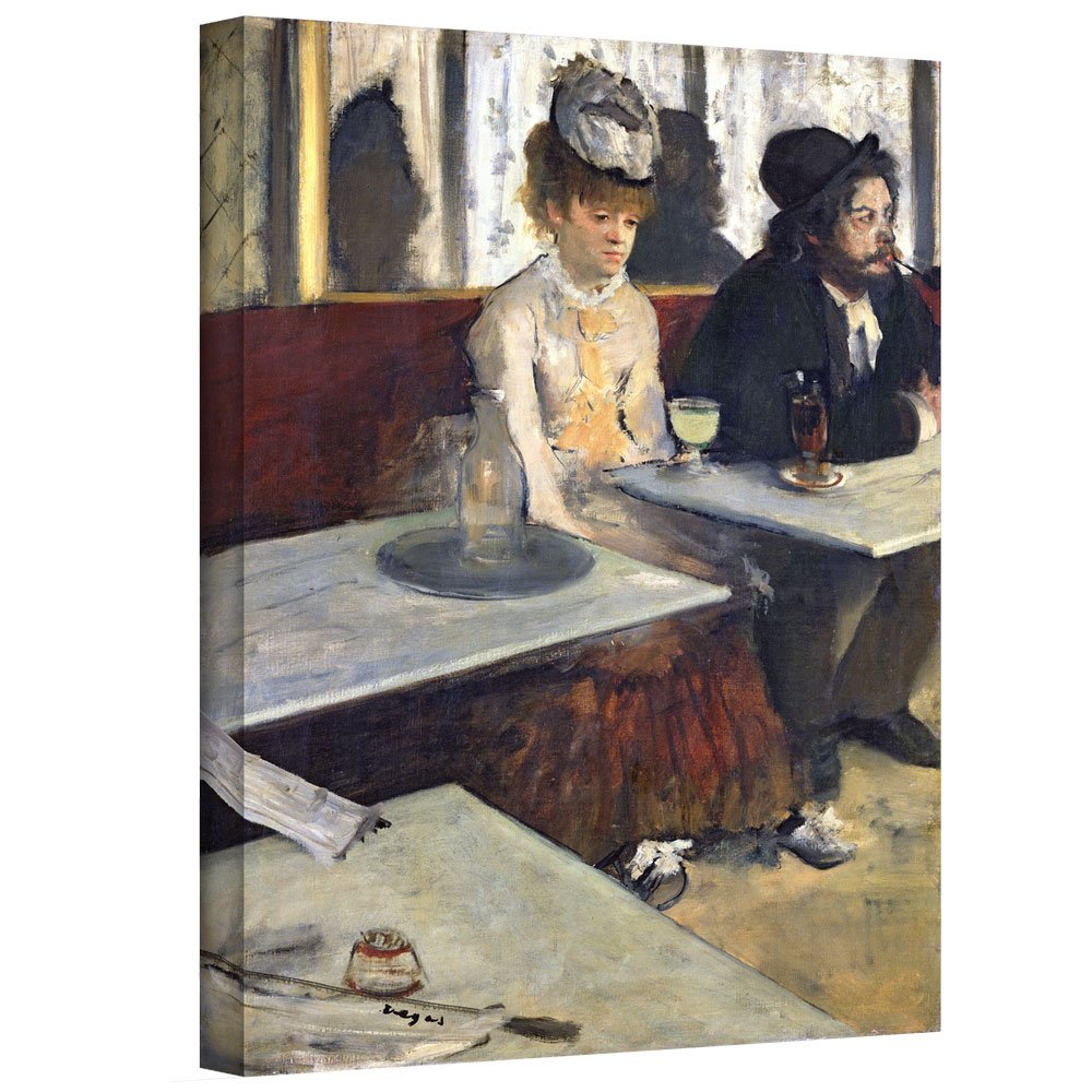ArtWall 'In a Cafe or The Absinthe' Gallery-Wrapped Canvas Artwork by Edgar Degas, 18 by 14-Inch
