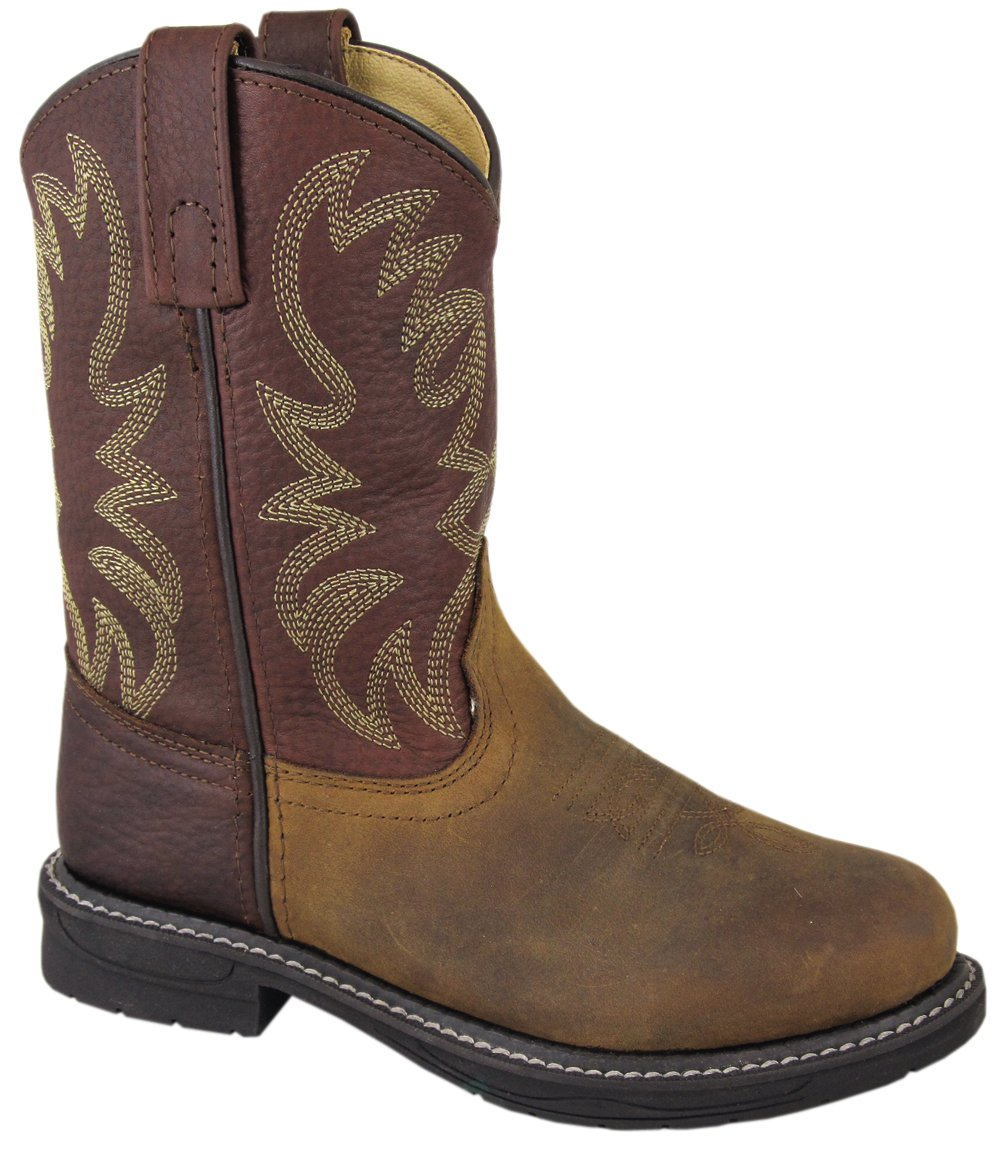 Smoky Mountain Youth Buffalo Wellington Oiled Distressed Leather Round Toe Brown Western Cowboy Boot, 5.5