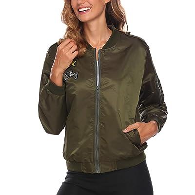 ACEVOG Womens Classic Zipper Floral Printed Jacket Short Bomber Jacket Coat at Women's Coats Shop
