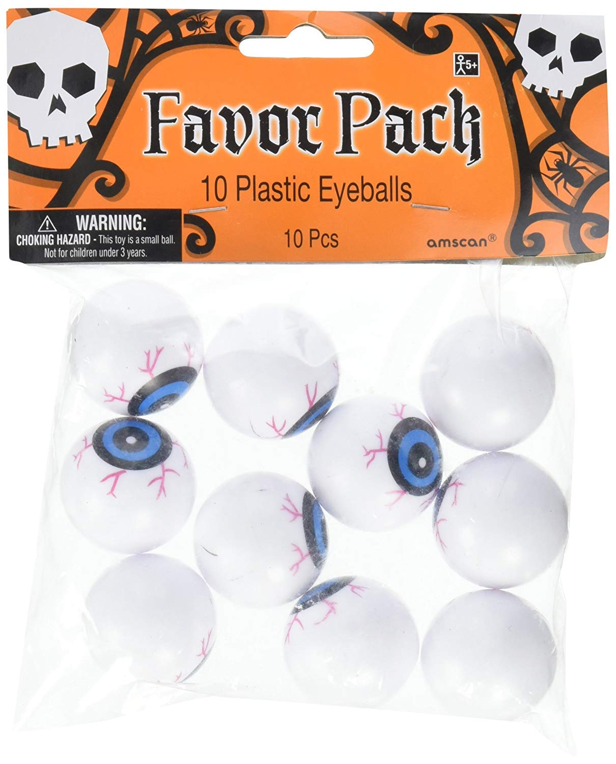 Halloween Ping Pong Eyeballs Party Favours x 10 Amscan