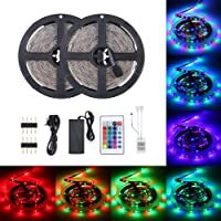 Lilideni 48W 10 Meters 600 LED RGB IP65 Strip Light with Sensitive IR24 Keys Remote Control Controller Supported Flash/Strobe/Fade/Smooth Lighting Effects/ 16 Static Colors Changing/Brightness A