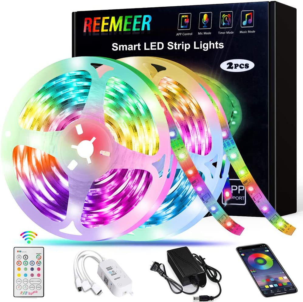 Amazon Com Led Strip Lights Reemeer Rgb Led Strip Lights Kit 32 8ft 10m Smd5050 300 Leds Color Changing Led Lights Strip With Remote App Control Sync To Music Apply Led Lights For Bedroom Kitchen Party