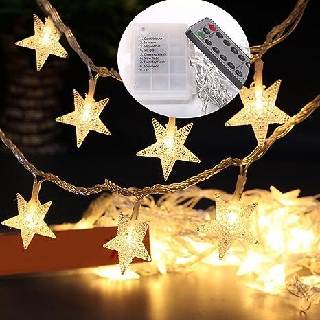 Amazon.com: Yotako 5M 40 LED Star String Lights Battery Operated ...