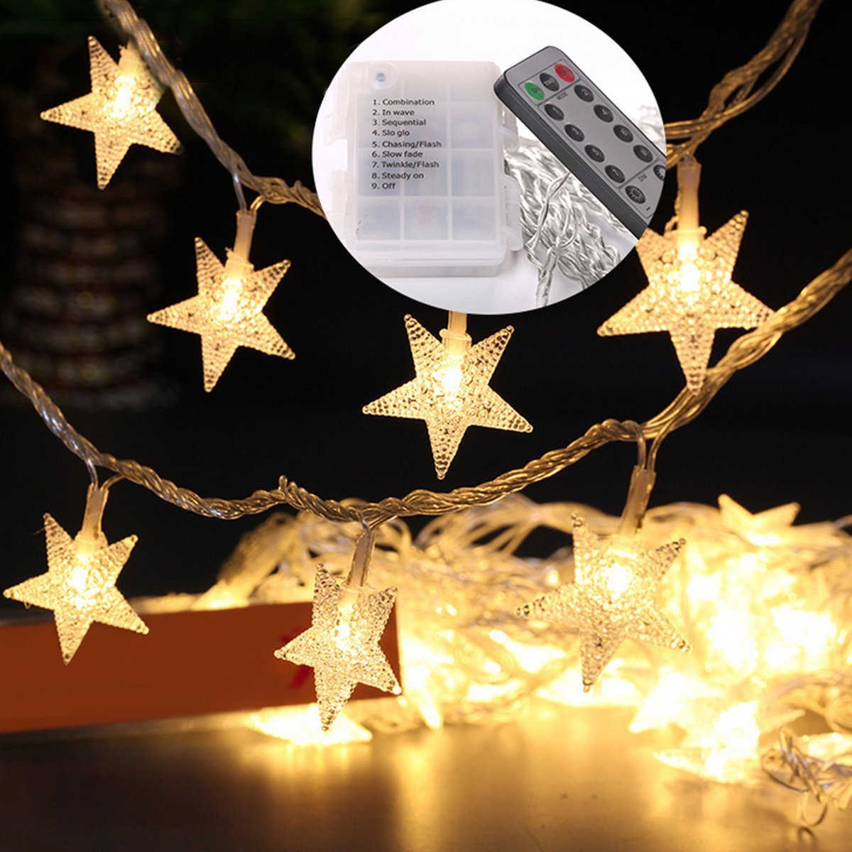 Indoor Party Star LED String Lights Battery Powered 16 Feet 40 LED Bedroom Fairy String Lights for Christmas Garden, Wedding Decoration (Warm White)
