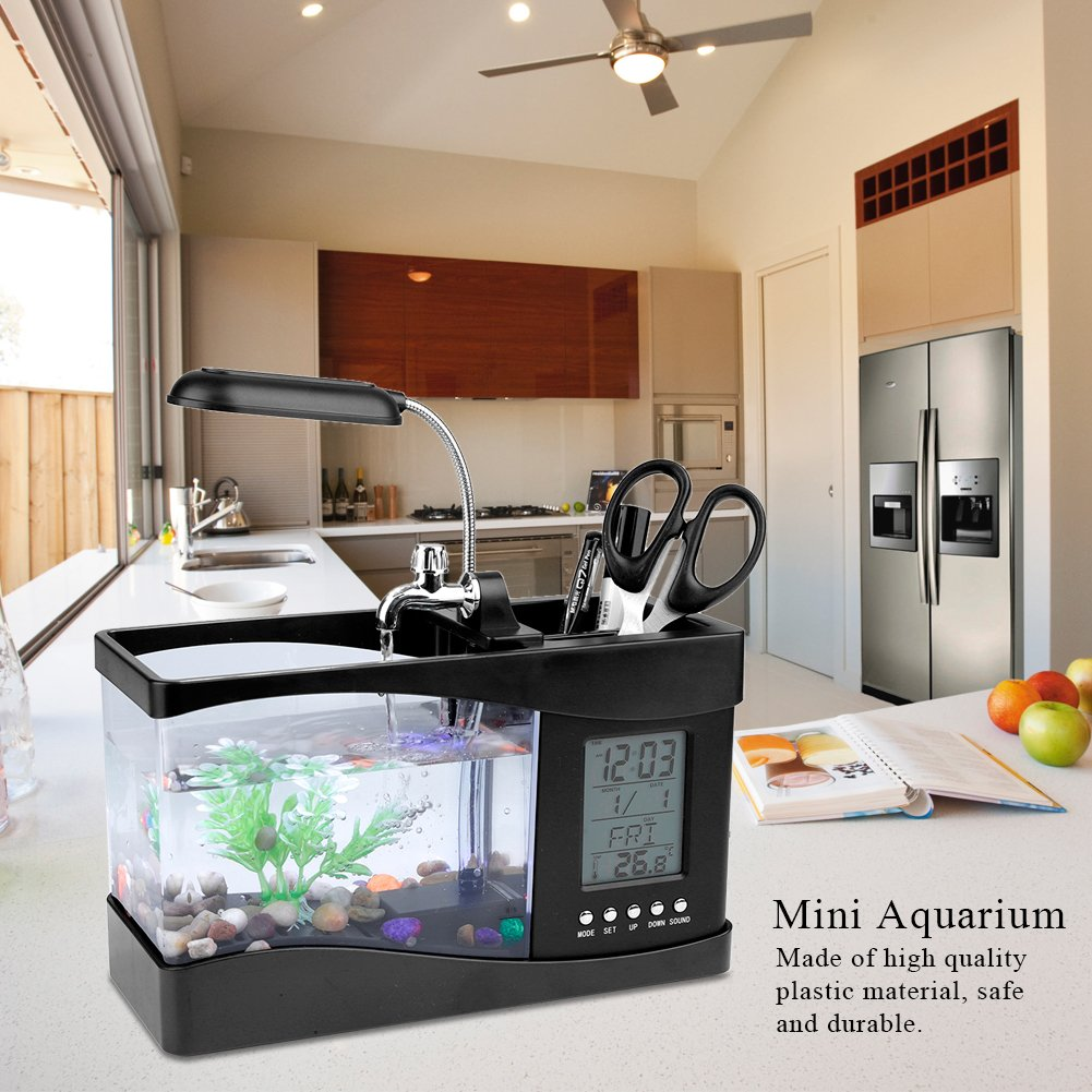 Amazon.com: Aquarium Multifunctional USB Rechargeable Desktop Electronic Aquarium Mini Fish Tank with Water Running Pump Calendar Clock Function Light Pen ...