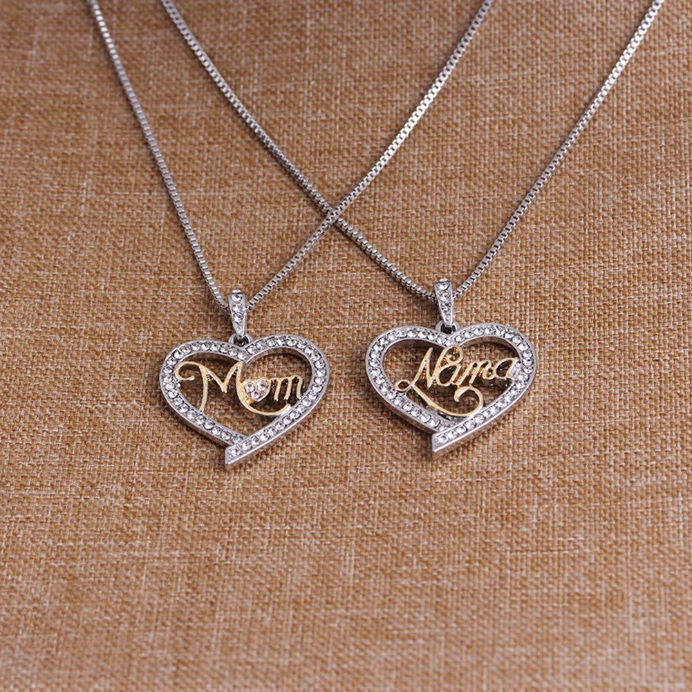 Gilroy Mothers Birthday Gift I Love You Mom Rhinestones Heart Pendant Necklace