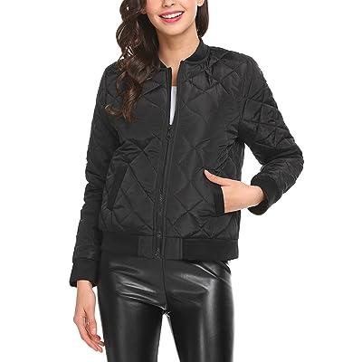 ACEVOG Women's Warm Winter Long Sleeve Pockets Lightweight Quilted Zipper Bomber Jackets