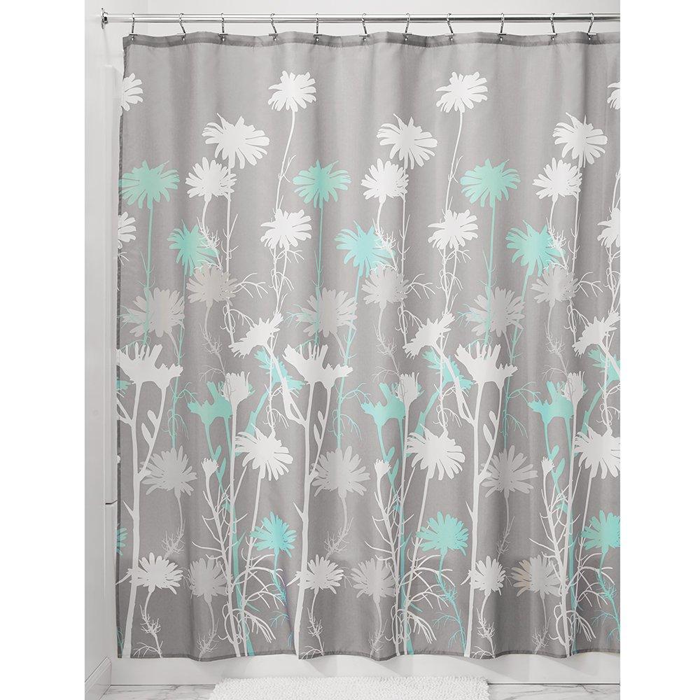 Amazon.com: InterDesign Daizy Shower Curtain, Gray and Mint, 72 x 72 ...