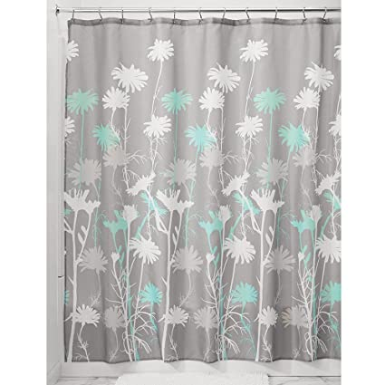 Amazon InterDesign Daizy Shower Curtain Gray And Mint 72 X