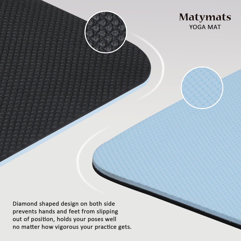 High Density Thick 1//4 Durable Mat 72 24 Eco Safe Non Toxic Matymats Non Slip TPE Yoga Mat with Carry Strap for Pilate Gymnastics Bikram Meditation Towel