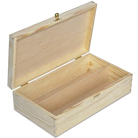 Creative Deco Caja Madera Vino para Decorar | 2 Botella | 35 x 20 x 9,5 cm | Divisores Extraíbles | Perfecta para Regalo Decoupage Almacenamiento ...