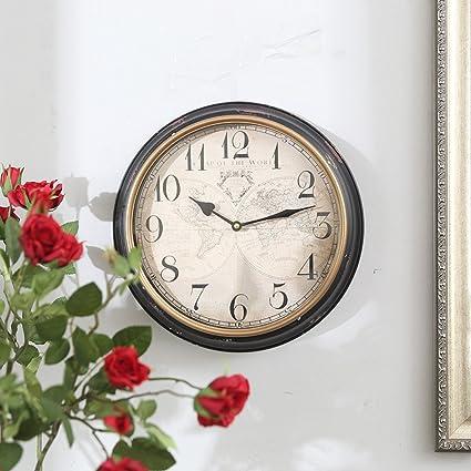 Wall clock MEILING De Estilo Europeo Mapa del Mundo Reloj De Pared De Casa Habitación Sala